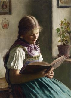 Lesendes Mädchen (before 1937).Emil Rau (German, 1858-1937). Oil on canvas. Rau studied at the Dresden Academy of Art. He was a genre painter, working to preserve a colorful and rich Bavarian heritage, often portraying subjects in their traditional costumes and placing them in traditional German landscapes.
