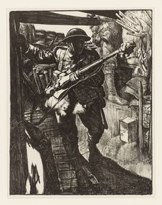 Eric Kennington 'Making Soldiers: In the Trenches', - the soldier has protected the barrel of his rifle from mud and water with a piece of cloth wrapped around the muzzle. Ww1 Art, Remembrance Day, World War One, Wood Engraving, Military Art, Painting & Drawing, Poster, My Arts, Fine Art