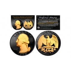 Black RUTHENIUM 2-Sided 1964 US Genuine Silver Quarter Coin with Genuine 24KT Gold 2-Sided Clad Highlights