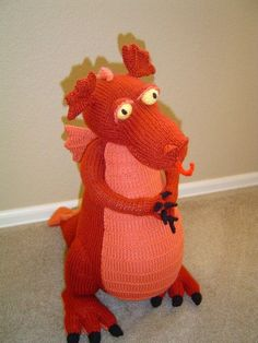 Large Stuffed Dragon | Large Dragon plush toy orange knit | Dragons Cute Stuffed Animals, Dinosaur Stuffed Animal, Doll Toys, Dolls, Dragon Pattern, Make Your Own, Kids Toys, Knit Crochet, Plush