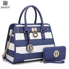f71c3c4aaec4 Meilleurs Sacs à main   Description Dasein Women s Designer Padlock Striped  Belted Top Handle Satchel Handbag Purse Shoulder Bag With Wallet (Royal ...