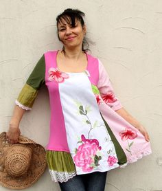 L XL romantic embroidered pink rose recycled dress by jamfashion