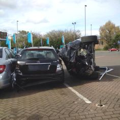 If you are going to crash, you may as well crash in to a Mercedes garage! X6 destroyed 6 new cars...