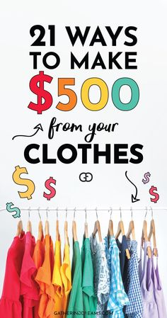 Want to make money fast? Check in your closet! Here are 21 places and incredible tips to show how you can make money from your. Earn More Money, Earn Money From Home, Earn Money Online, Money Tips, Money Saving Tips, How To Sell Clothes, Planners, Making Extra Cash, Make Money Fast