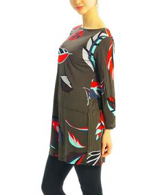 This Olive Leaf Boatneck Tunic is perfect! #zulilyfinds