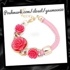 NEWS LISTINGPink rose bracelet Cute pink flower and leather bracelet. Acrylic hardware. Metal clasp closure. Adjustable length.(second pic shows true flower color).NEW Jewelry Bracelets