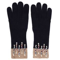 Alice Hannah Aut14/15 knit accessories_BabyDoll_Delicate Pearl and gem glove_Navy