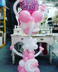 Baby girl bouquet by celebrating events #babygirl #babyshower #balloonart #balloonsculpture #whiteandpink #celebration