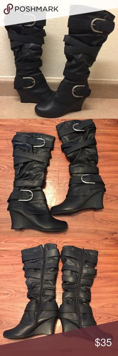 Unionbay Tall Wedge Boots Unionbay Tall Wedge Boots. WORE ONCE LIKE NEW!! In good condition no holes, stains, wears or tears! Beautiful boots! UNIONBAY Shoes Wedges