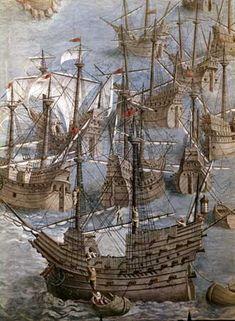 Detalle del cuadro Expedición a las Islas Terceras (1583). Real Monasterio de El Escorial.