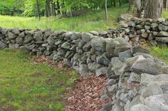 New England Stone Walls, An American Stonehenge Dry Stack Stone, Stacked Stone Walls, Dry Stone, Backyard Fort, Backyard Landscaping, Rock Wall Gardens, Stone Fence, Old Fences, Garden Fencing
