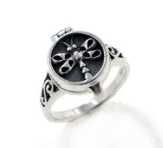 Sterling Silver Dragonfly Poison or Aromatherapy Scent Locket Ring(Sizes 4,5,6,7,8,9,10,11)