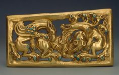 Belt Buckle (Right), 3rd century BC, gold and turquoise, Russia, Siberia