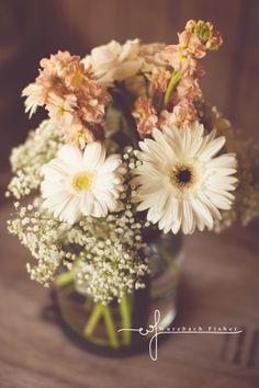 wedding centerpiece ideas, mason jars, simple bouquet