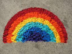 rainbow tshirt rug
