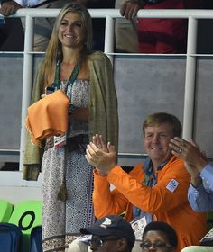Queen Maxima and King Willem-Alexander of the Netherlands attended the Men's 4 x…