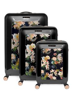 Large opulent bloom case - Black | Bags | Ted Baker. DREAM suitcases!! Love the rose gold and florals!!