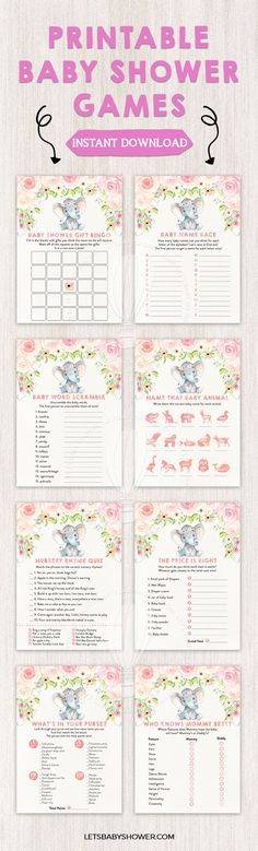 Looking for a Baby Shower theme for girls? Here's one of the baby shower ideas your guests will surely enjoy. Watercolor Boho Elephant Baby Shower Games for Girls