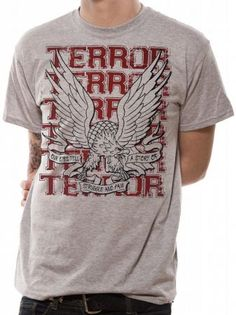 Officially licensed Terror t-shirt design printed on a sports grey cotton short sleeve T-shirt.