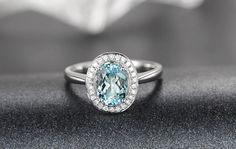 6x8mm Oval Aquamarine Engagement ringVS Diamond wedding by popRing