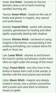 Types of witches, explained through the zodiac.