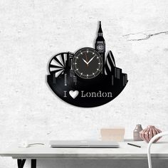 London Wall vinyl record clock, Best Gift for Decor #homedecor #walldecor #clock #wallclock #vinyl #gifts #giftideas #giftsforher #giftguide #giftwrap #london #england #city