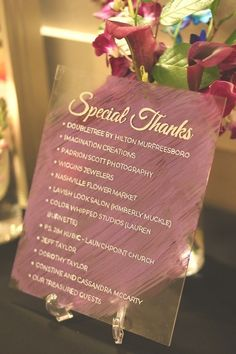 Glass hand-painted Special Thanks sign. From the Chaffron and Casper Corder Wedding. Gift Table Wedding, Wedding Gifts, Our Wedding, Looking For Love, Get The Look, Thankful, How To Get, Hand Painted, Sign
