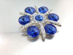 25% OFF SALE,Large Sparkly Blue Heliotrope Rhinestone Brooch, bright blues sapphire canochons & clear rhinestone brooch.