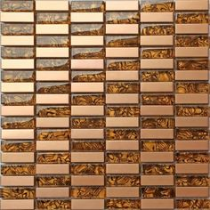 Glass & Brushed Gold Bronze Brass Copper Stainless Steel Mosaic Tiles Sheet. Stunning stainless steel and glass combination with a golden touch.