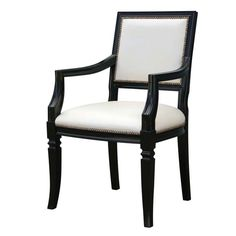 The Louis Armchair is a simple, classic armchair from Oly Studio.  Featuring a hand carved wood frame, open arms and an upholstered back and seat, the Louis Armchair is sure to compliment a variety of decor.      *Shown in black with ivory leather.     Priced as shown. Please call for other fabric/finish options. Pricing may vary.