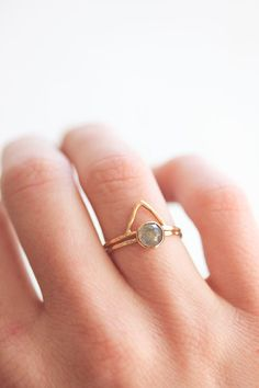 Rose cut labradorite and gold stacking ring, thin yellow gold band, delicate, stack ring, gold gemstone ring, solid gold, recycled, organic
