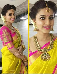Indian bridal wear yellow saris Ideas for 2019 Beautiful Blouses, Beautiful Saree, Beautiful Bride, Beautiful Flowers, South Indian Bridal Jewellery, Bridal Jewelry, Gold Jewellery, Jewellery Shops, India Jewelry