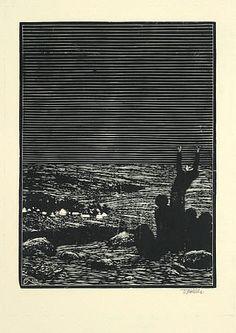 Volání / call - ČESKÁ GRAFICKÁ MODERNA - drevoryt / woodcut - Frantisek Kobliha (1877-1962 Czechoslovakia)