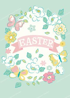 easter floral butterfly wreath design illustration print greetings card victoriajohnsondesign.com