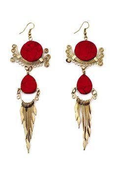 Ivory Ladies' Red Earrings - Ivory