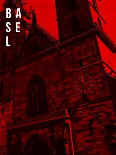 B A S E L   M I N S T E R⚫B A S E L⚫S W I T Z E R L A N D        #travelposter #red #vsco #techpack #baselminster #church #munsterpl.9 #contrast #design #poster #travel