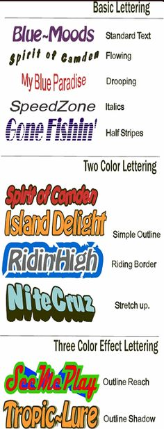 lettering for watercraft | Boat Names Database Search for Funny, popular or Unusual boat name ...