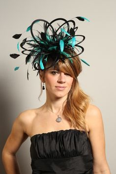 Medium Black Satin Fascinator with Hackle Feathers and Custom Highlight Colour - Maighread Stuart Millinery