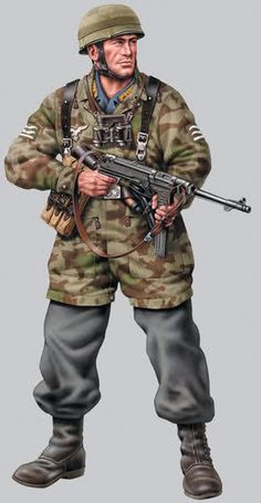 The Dammerung Kommando unit that captured Johnny Red were outfitted in Fallschirmjäger uniforms. Military Figures, Military Art, Military History, Ww2 Uniforms, German Uniforms, Military Uniforms, German Soldiers Ww2, German Army, Luftwaffe Uniform