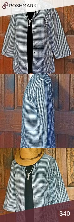 """Chico""""s Silk Gingham Shirt Jacket - Black & Whtte This lightweight Shirt Jacket is a Chico's Size 0 = 5 to 7 Body is 27"""" L by 18"""" W and has a 5 Button Front The 3/4 sleeves are 17.5"""" in Length from the shoulder  «A» «W» «E» «S» «O» «M» «E» «!» «!» «!»  Toss on a black or white tank with a pair of jeans Dress it up with a pair of Black Crops or White Linen Pants Add your favorite summer Straw Hat for a Great Look Make the whole outfit pop with Silver or Black jewelry Chico's Tops Blouses"""