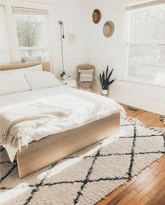Do You Like An Ideas For Scandinavian Bedroom In Your Home? If you want to have An Amazing Scandinavian Bedroom Design Ideas in your home. Bedroom Inspo, Home Decor Bedroom, Modern Bedroom, Bedroom Furniture, Large Furniture, Design Bedroom, Hippy Bedroom, Bedroom Rugs, Scandinavian Style Bedroom