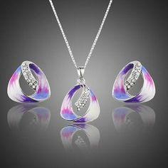 Oil Paint Stellux Austrian Crystal Stud Earrings & Pendant Necklace Set  #earrings #rings #necklace #jewelry #women #fashion #womensfashion #khaista #dresses