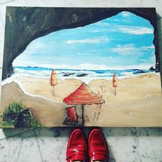 I wish my red 'Dorothy' shoes could click and take me here.....#inoriginate #escape #painting #torontoart #beachdays #redshoes. Painting by in.originate  www.inoriginate.com