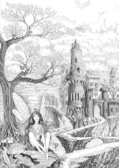 Fairy Pathway by ellfi.deviantart Coloring pages colouring adult detailed advanced printable Kleuren voor volwassenen castle Fairy Coloring Pages, Adult Coloring Pages, Coloring Sheets, Coloring Books, Wow Art, Colorful Pictures, Line Drawing, Faeries, Line Art