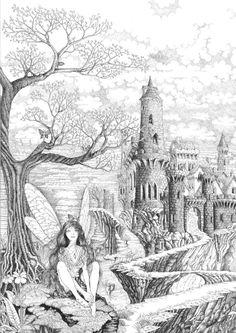Fairy Pathway by ellfi.deviantart Coloring pages colouring adult detailed advanced printable Kleuren voor volwassenen castle