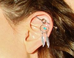 Industrial Piercing Barbell Dream Catcher Feather Charm Genuine Turquoise Dreamcatcher Dangle 14 Gauge G Bar. Piercing Tattoo, Body Piercing, Industrial Piercing Barbells, Industrial Barbell, Cool Piercings, Body Jewelry, Jewelery, Jewelry Accessories, Bling