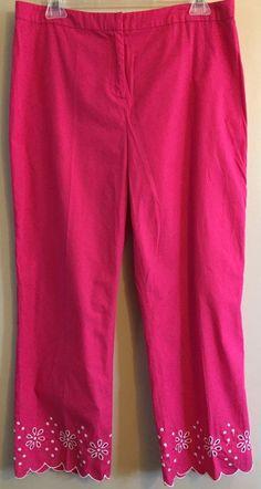 Ladies Women's size 10 Ann Taylor Loft pink Capris bottoms cropped pants #AnnTaylorLOFT #CaprisCropped