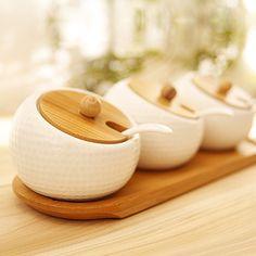 Brief spice jar zakka durian ceramic bamboo spice jar seasoning box three pieces set+free Shipping $35.80