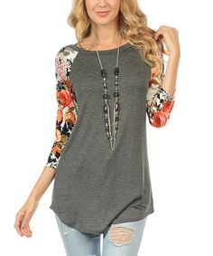 This Charcoal Floral-Sleeve Tunic is perfect! #zulilyfinds