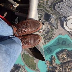 This was taken by National Geographic photographer Joe McNally from the top of the world's tallest skyscraper, the Burj Khalifa, in Dubai.